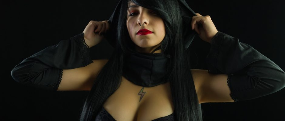 rule 63 kylo ren cosplay dark background lingerie portrait genderbend